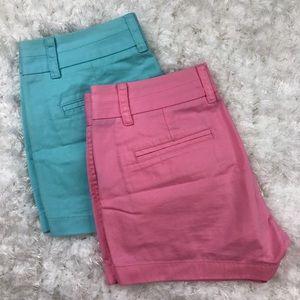 J. Crew Chino Shorts Sz 0 Lot Blue & Pink
